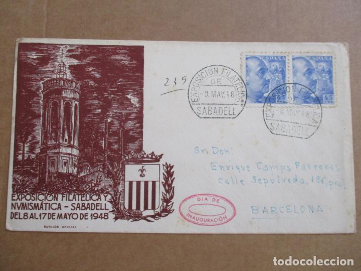 CIRCULADA 1948 DE EXPOFILATELICA DE SABADELL A BARCELONA (Sellos - España - Estado Español - De 1.936 a 1.949 - Cartas)