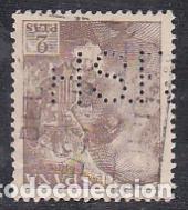 ESPAÑA.- SELLO Nº 1057 FRANCO DENTADO FINO PERFORADO H.S.R. MATASELLADO. (Sellos - España - Estado Español - De 1.936 a 1.949 - Usados)