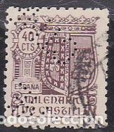 ESPAÑA.- SELLO Nº 981 MILENARIO DE CASTILLA PERFORADO C.T.N.E. MATASELLADO. (Sellos - España - Estado Español - De 1.936 a 1.949 - Usados)
