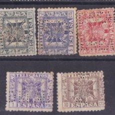 Sellos: AA13- TELÉGRAFOS X 5 VALORES PERFORADOS CIUDAD REAL. Lote 195282596