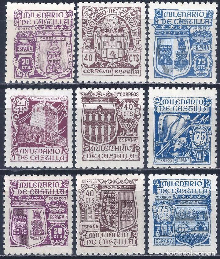 EDIFIL 974-982 MILENARIO DE CASTILLA 1944 (SERIE COMPLETA). VALOR CATÁLOGO: 50 €. LUJO. MNH ** (Sellos - España - Estado Español - De 1.936 a 1.949 - Nuevos)