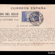 Sellos: *** DOCTOR THEBUSSEM 1944. TARJETA DÍA DEL SELLO CON PRIMER DÍA MATASELLOS MADRID NEGRO ***. Lote 195394505