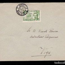 Sellos: *** CONDE DE SAN LUIS 1945. CARTA MATASELLOS PRIMER DÍA DE SEVILLA NEGRO. EDIFIL 990 ***. Lote 195395123
