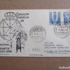 Sellos: CIRCULADA 1949 EXPO FILATELICA PAMPLONA NAVARRA A PALMA DE MALLORCA CON EDIFIL 979. Lote 195489121