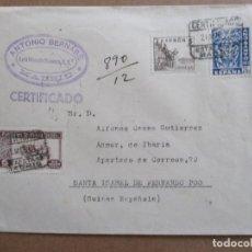 Sellos: CIRCULADA 1944 DE MADRID A FERNANDO POO CON EDIFIL 966. Lote 195489835