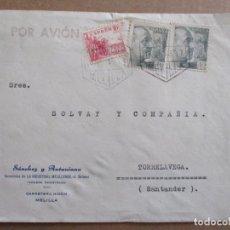 Sellos: CIRCULADA 1943 DE MELILLA A TORRELAVEGA SANTANDER. Lote 195493617