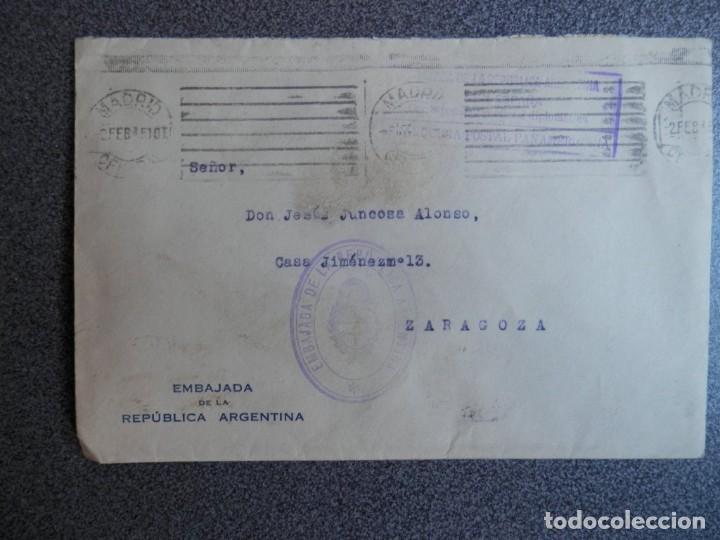 SOBRE CIRCULADO CON FRANQUICIA DE LA EMBAJADA ARGENTINA A ZARAGOZA AÑO 1945 (Sellos - España - Estado Español - De 1.936 a 1.949 - Cartas)
