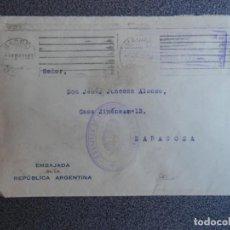 Sellos: SOBRE CIRCULADO CON FRANQUICIA DE LA EMBAJADA ARGENTINA A ZARAGOZA AÑO 1945. Lote 195532893