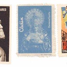 Selos: S100 LOTE 3 VIÑETAS SEMANA SANTA 1950'S CADIZ-GRANADA-LINARES. Lote 197375553
