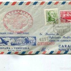 Sellos: 1949 CARTA CERTIFICADO CORREO AÉREO. PRIMER VUELO ESPAÑA VENEZUELA. MADRID A CARACAS. Lote 199066095