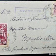 Selos: CARTA AYAMONTE HUELVA CENSURA MILITAR 1938 ESPECIAL MÓVIL FISCAL VIÑETA COCINAS ECONÓMICAS. Lote 202362532