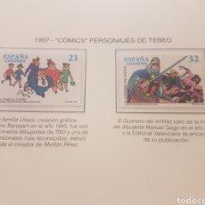 Sellos: 2 SELLOS ESPAÑA COMICS PERSONAJES DE TEBEO. Lote 203196890