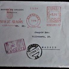 Selos: FRANQUEO MECÁNICO BANCO ARAGÓN ZARAGOZA 1946 TAMPÓN URGENCIA URGENCIA PEGASO FRANQUEO INCLUIDO. Lote 203240233