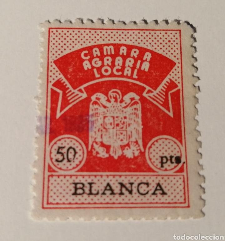 BLANCA. MURCIA. CAMARA AGRARIA LOCAL. 50 PTAS. (Sellos - España - Estado Español - De 1.936 a 1.949 - Usados)