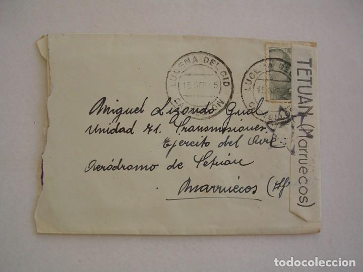 CARTA, BANDA DE CENSURA TETUAN MARRUECOS MAS MARCA C DENTRO DE ESTRELLA, LUCENA DEL CID, (Sellos - España - Estado Español - De 1.936 a 1.949 - Cartas)