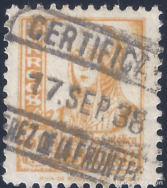 EDIFIL 826. ISABEL 1937. MATASELLOS DE JEREZ DE LA FRONTERA DE FECHA 17-SEP-1938. LUJO. (Sellos - España - Estado Español - De 1.936 a 1.949 - Usados)