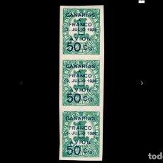 Sellos: ESPAÑA - 1937 - ESTADO ESPAÑOL - CANARIAS - EDIFIL 11 - TIRA DE 3 - MNH** - NUEVOS - V. CATALOGO 95€. Lote 204671677