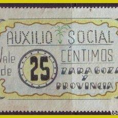 Sellos: AUXILIO SOCIAL VALE 25 CTS, ZARAGOZA Y PROVINCIA, MURALLAS ROMANAS, EN REVERSO. Lote 204810771