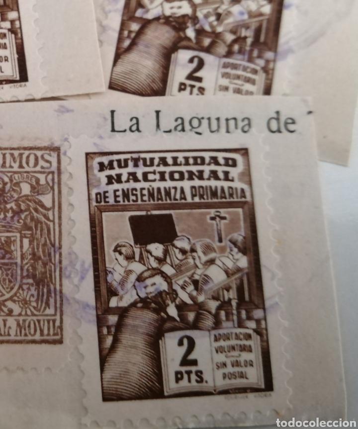 Sellos: MUTUALIDAD NACIONAL ENSEÑANZA PRIMARIA. LOTE 3 VIÑETAS 2 PTAS. PEGADOS A PAPEL AÑOS 40 - Foto 2 - 206211690