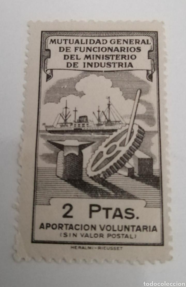 FUNCIONARIOS MINISTERIO INDUSTRIA. MUTUALIDAD. 2 PTAS (Sellos - España - Estado Español - De 1.936 a 1.949 - Usados)