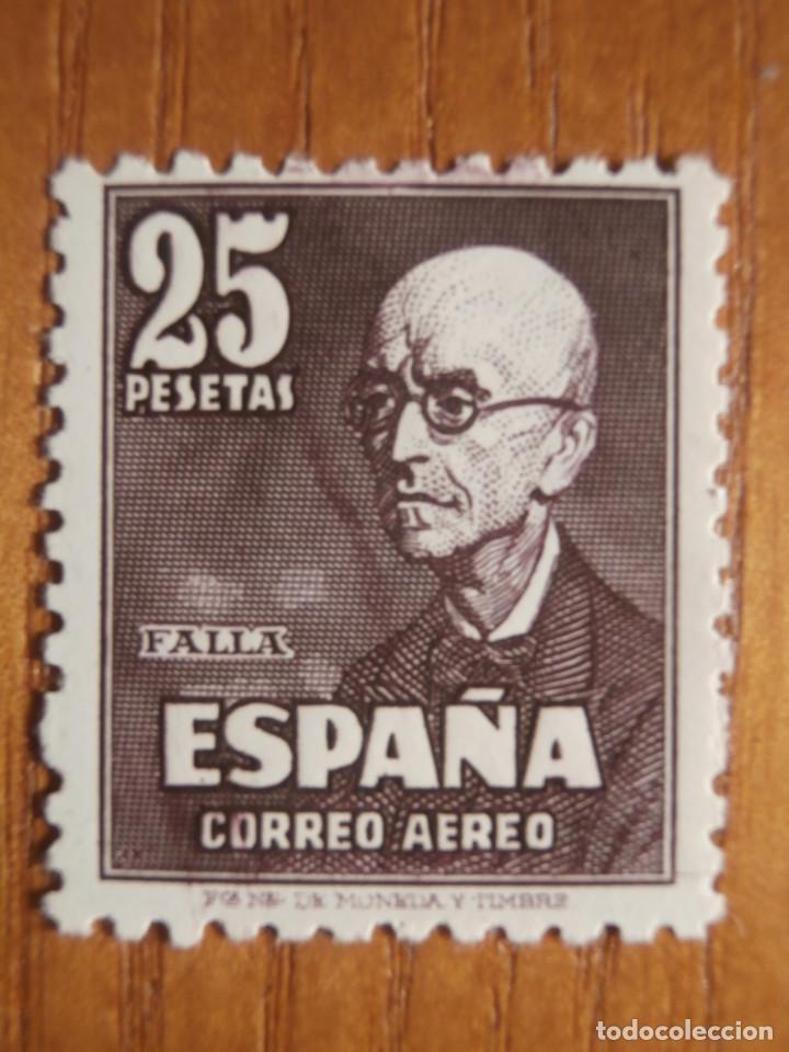 SELLO CORREOS - AÑO 1947 EDIFIL Nº 1015 - 25 PESETAS CASTAÑO-LILA - MANUEL DE FALLA - NUEVO CON GOMA (Sellos - España - Estado Español - De 1.936 a 1.949 - Nuevos)