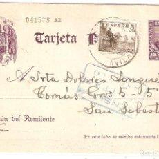 Sellos: TARJETA ENTERO POSTAL Nº 86 EDIFIL CERVANTES. CENSURA MILITAR DE ARÉVALO (ÁVILA).. Lote 206765908