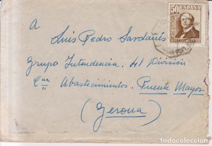 AÑO 1948 EDIFIL 1037 SOBRE COLL BLANCH A GERONA (Sellos - España - Estado Español - De 1.936 a 1.949 - Cartas)