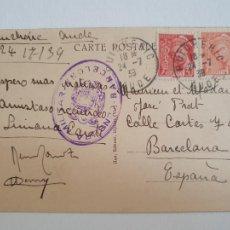 Sellos: BARCELONA - CENSURA MILITAR - PUICHÉRIC / BARCELONA 1939. Lote 207006481