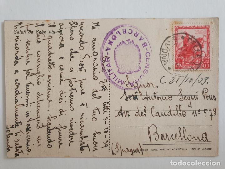 CENSURA MILITAR - ITALIA CELLE LIGURE / BARCELONA (Sellos - España - Estado Español - De 1.936 a 1.949 - Cartas)
