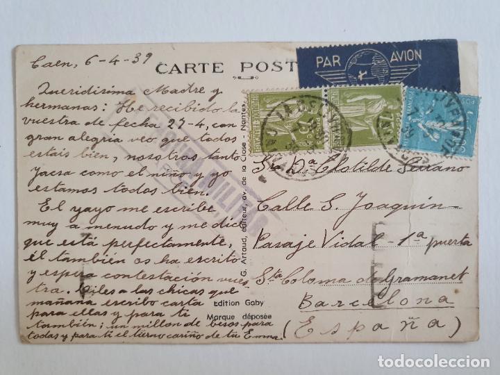 CENSURA MILITAR - FRANCIA CAEN / BARCELONA (Sellos - España - Estado Español - De 1.936 a 1.949 - Cartas)