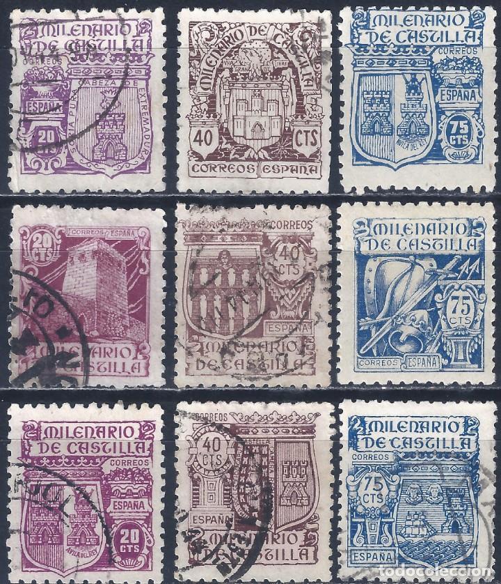 EDIFIL 974-982 MILENARIO DE CASTILLA 1944 (SERIE COMPLETA). VALOR CATÁLOGO: 23 €. LUJO. (Sellos - España - Estado Español - De 1.936 a 1.949 - Usados)