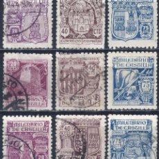 Sellos: EDIFIL 974-982 MILENARIO DE CASTILLA 1944 (SERIE COMPLETA). VALOR CATÁLOGO: 23 €. LUJO.. Lote 207284475