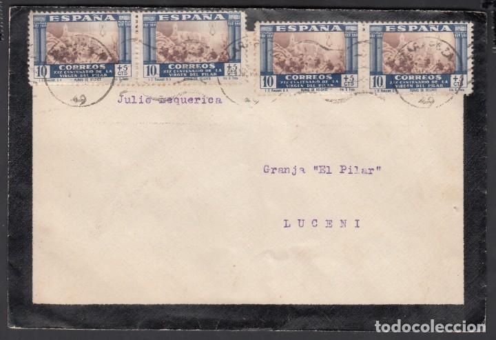 CARTA, ZARAGOZA - LUCENI, CIRCULADA CON SELLOS DEL CENTENARIO DEL LA VIRGEN DEL PILAR (Sellos - España - Estado Español - De 1.936 a 1.949 - Cartas)