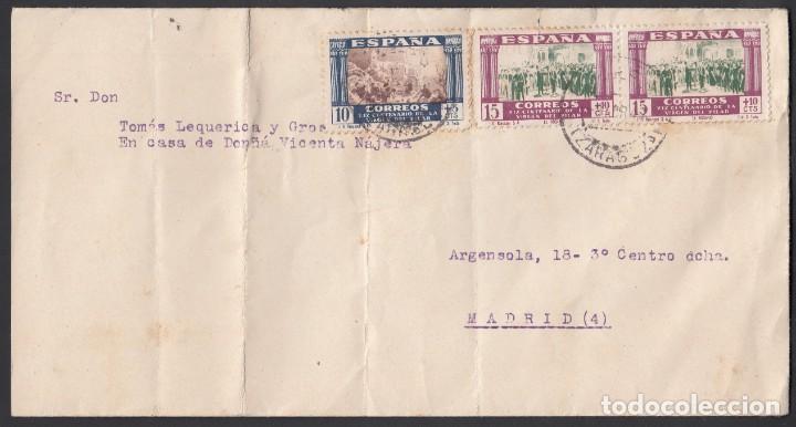 CARTA, LUCENI - MADRID, CIRCULADA CON SELLOS DEL CENTENARIO DEL LA VIRGEN DEL PILAR (Sellos - España - Estado Español - De 1.936 a 1.949 - Cartas)
