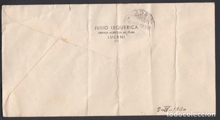 Sellos: Carta, Luceni - Madrid, Circulada con sellos del Centenario del la Virgen del Pilar - Foto 2 - 208098100