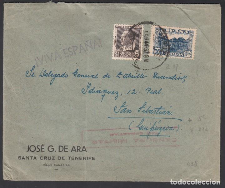 CARTA, SANTA CRUZ DE TENERIFE - SAN SEBASTIAN, SELLO 50 CTS JUNTA DE DEFENSA NACIONAL, (Sellos - España - Estado Español - De 1.936 a 1.949 - Cartas)