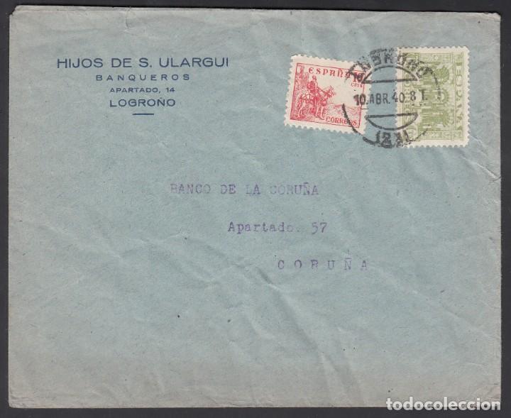 CARTA, LOGROÑO - LA CORUÑA, SELLO 60 CTS JUNTA DE DEFENSA NACIONAL, (Sellos - España - Estado Español - De 1.936 a 1.949 - Cartas)