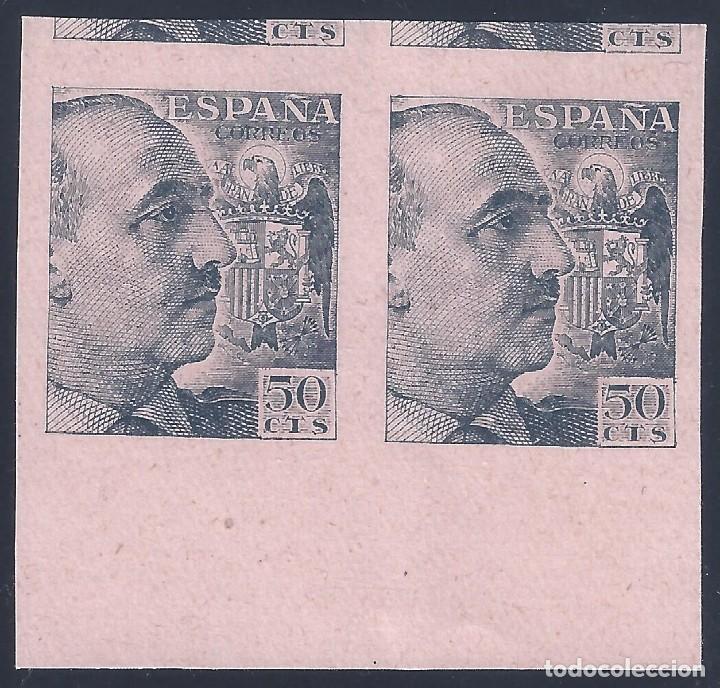 EDIFIL 927 GENERAL FRANCO 1940-1945 (VARIEDAD..PRUEBA DE IMPRESIÓN ANVERSO Y REVERSO). LUJO. MNG. (Sellos - España - Estado Español - De 1.936 a 1.949 - Nuevos)