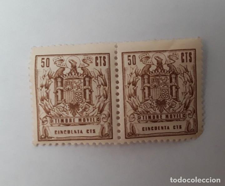 2 SELLOS 50 CTS TIMBRE MOVIL (Sellos - España - Estado Español - De 1.936 a 1.949 - Nuevos)