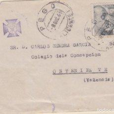 Sellos: CARTA DE PEGO (ALICANTE) A ONTENIENTE CON SELLO 925 FECHADOR 27/10/41. Lote 210197893