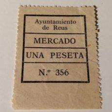 Sellos: REUS. TARRAGONA. MERCADO. 1 PESETA. Lote 210356477