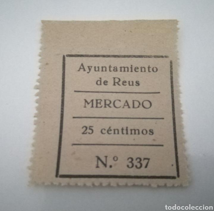 REUS. TARRAGONA. MERCADO. 25 CÉNTIMOS (Sellos - España - Estado Español - De 1.936 a 1.949 - Usados)