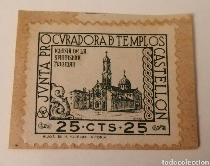 CASTELLÓN. JUNTA PROCURADORA DE TEMPLOS. 25 CÉNTIMOS. (Sellos - España - Estado Español - De 1.936 a 1.949 - Usados)