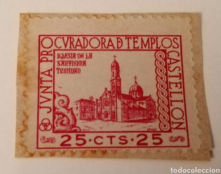 CASTELLÓN. JUNTA PROCURADORA DE TEMPLOS. 25 CÉNTIMOS. ROJO (Sellos - España - Estado Español - De 1.936 a 1.949 - Usados)