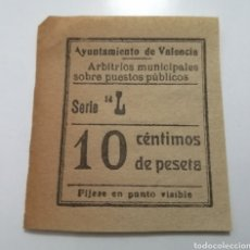 Sellos: VALENCIA. ARBITRIOS MUNICIPALES SOBRE PUESTOS PÚBLICOS. 10 CÉNTIMOS. Lote 210433870