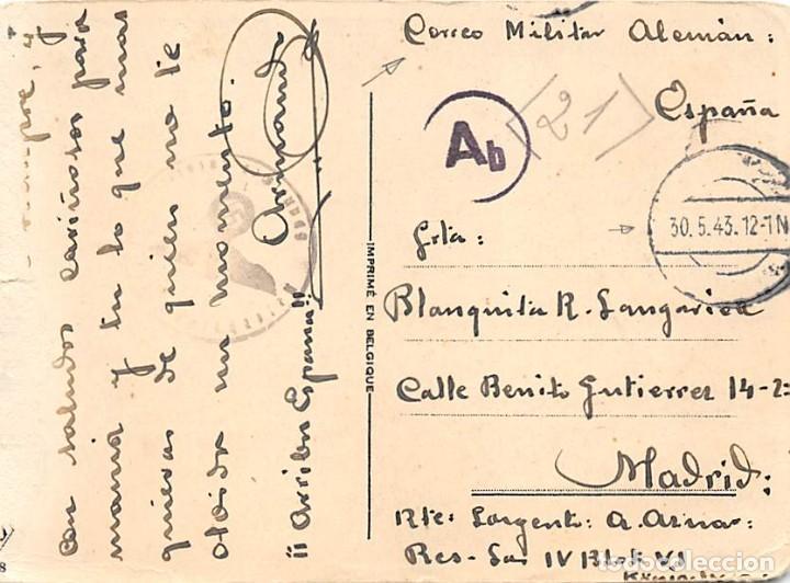 TARJETA POSTAL DIRIGIDA A MADRID 30 MAYO 43 DESDE EL FRENTE DE KRASNY- SARGENTO A. AZNAR (Sellos - España - Estado Español - De 1.936 a 1.949 - Cartas)