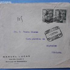 Sellos: SOBRE CIRCULADO. 2 DE OCTUBRE DE 1944. CERTIFICADO SANTIAGO DE COMPOSTELA.. Lote 210596701