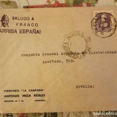 Sellos: CENSURA MILITAR GRANADA AÑO 1938 SOBRE COMERCIAL FERRETERIA LA CAMPANA. Lote 210603708