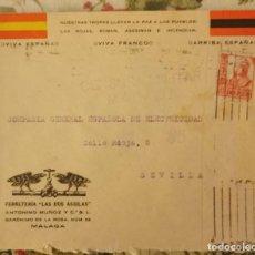 Sellos: CENSURA MILITAR MALAGA AÑO 1937 SOBRE COMERCIAL FERRETERIA LAS DOS AGUILAS. Lote 210603850