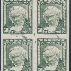 Sellos: EDIFIL 1006S II CENTENARIO DEL NACIMIENTO DE GOYA 1946.SIN DENTAR. V. CATÁLOGO: 50 €. LUJO. MNH **. Lote 210614050